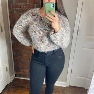 Fuzzy cropped sweater M